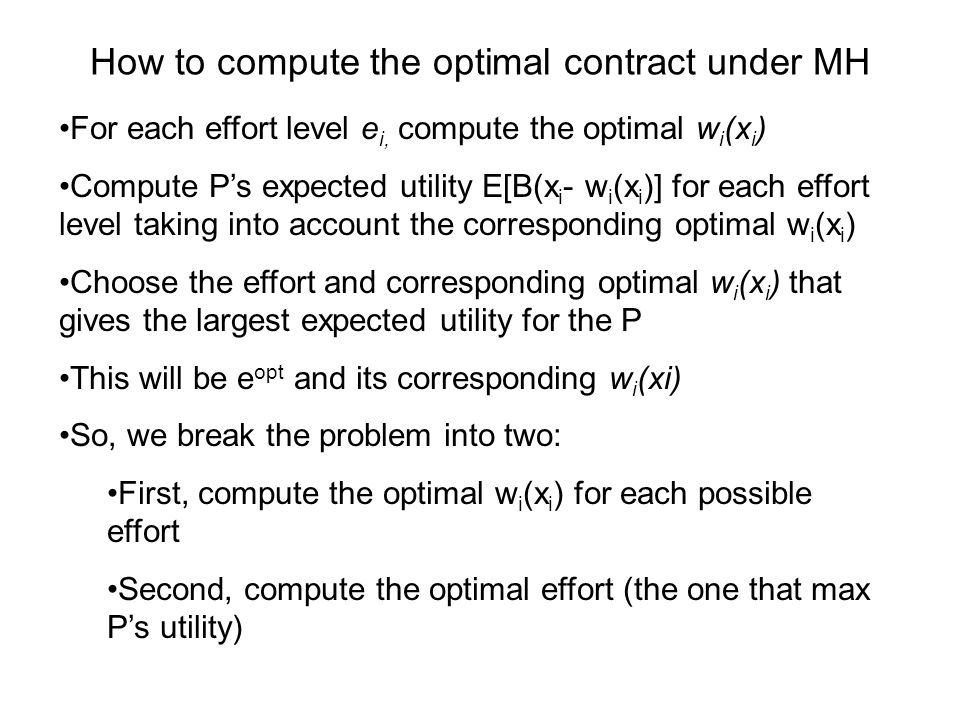 How to compute the optimal contract under MH
