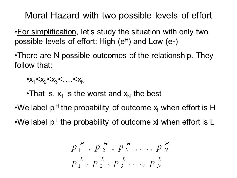 Moral Hazard with two possible levels of effort