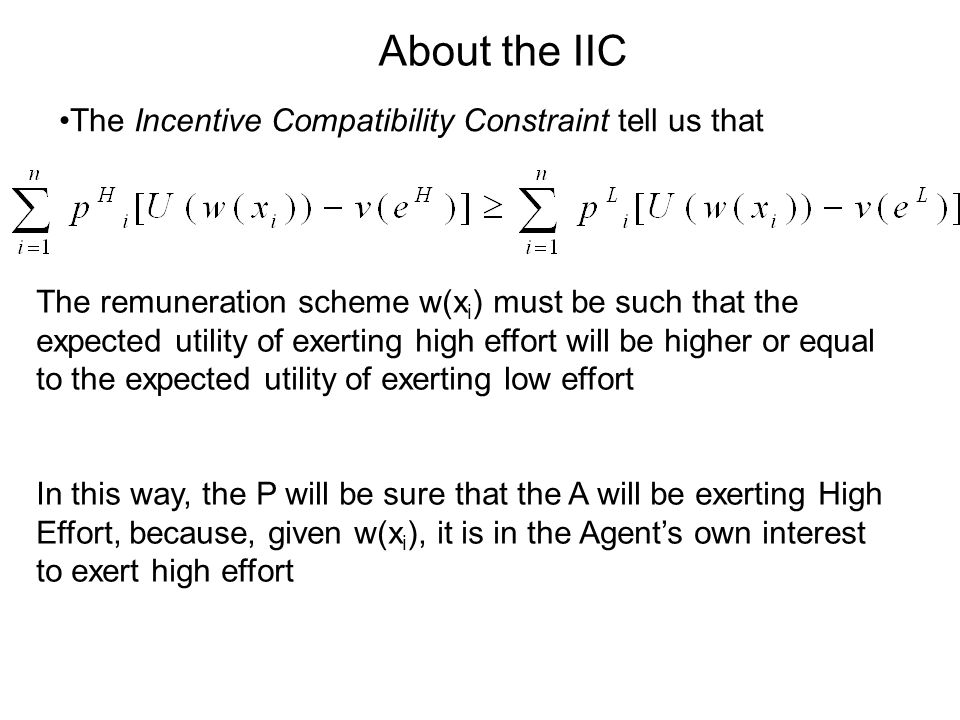 About the IIC The Incentive Compatibility Constraint tell us that