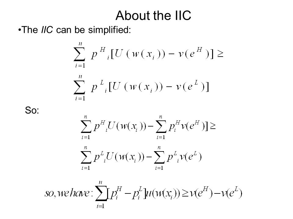 About the IIC The IIC can be simplified: So: