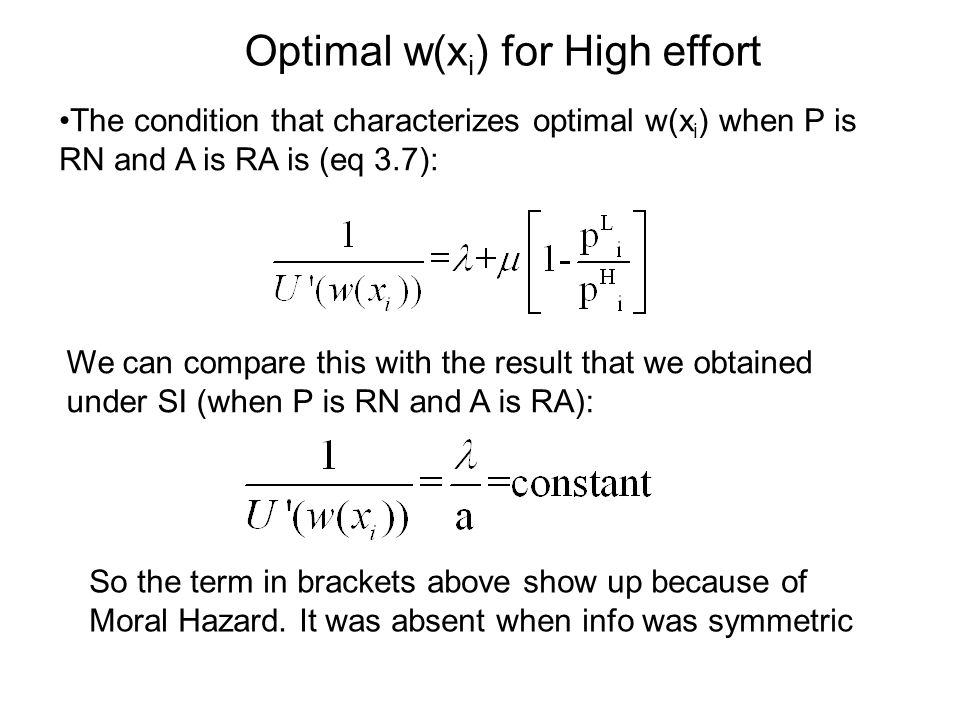 Optimal w(xi) for High effort