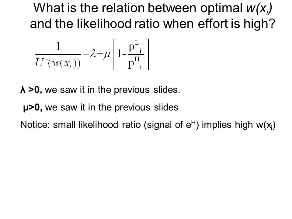 What is the relation between optimal w(xi) and the likelihood ratio when effort is high