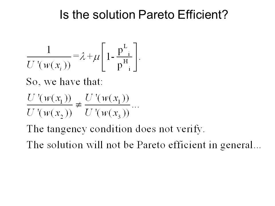 Is the solution Pareto Efficient