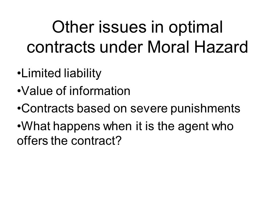Other issues in optimal contracts under Moral Hazard