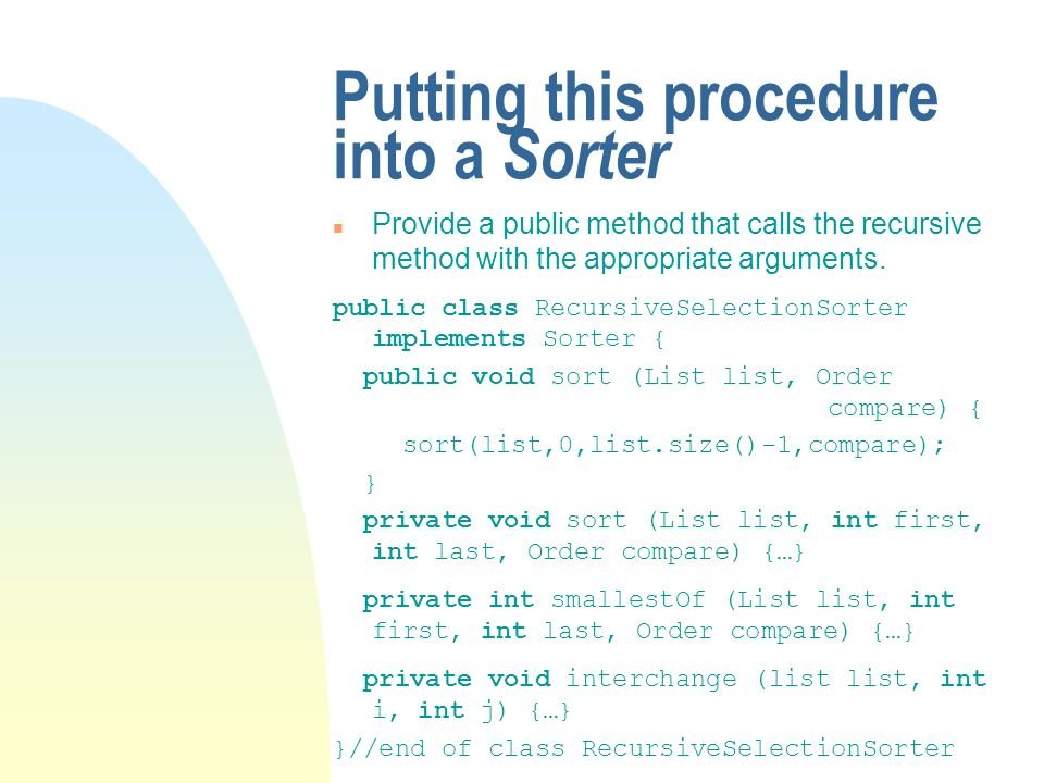 Putting this procedure into a Sorter