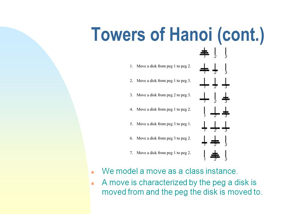 Towers of Hanoi (cont.) We model a move as a class instance.