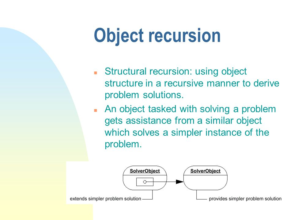 Object recursion Structural recursion: using object structure in a recursive manner to derive problem solutions.
