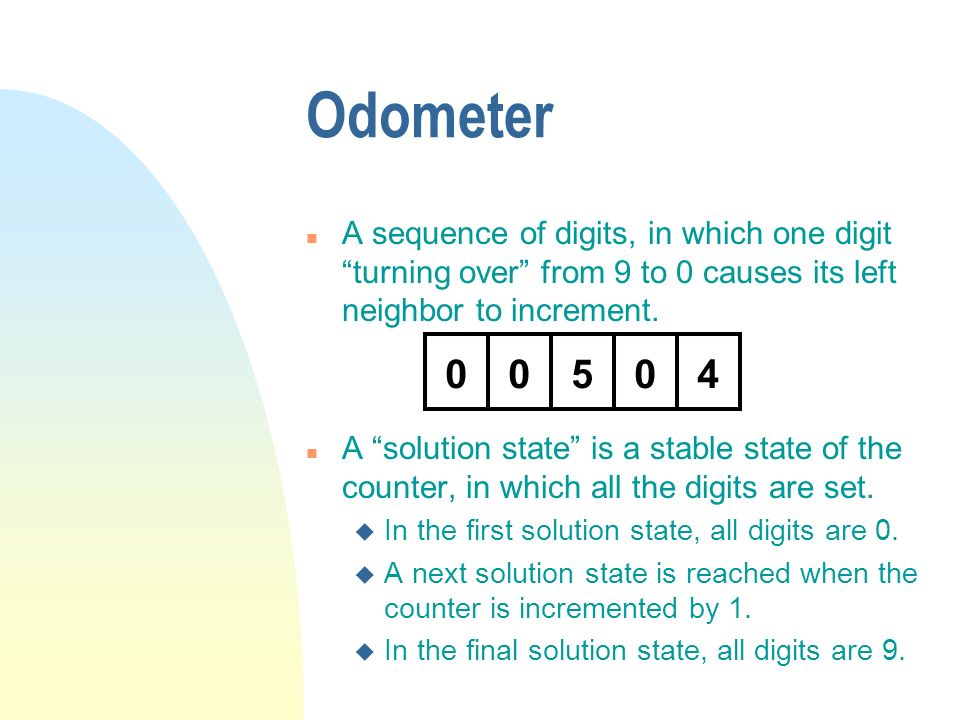 Odometer A sequence of digits, in which one digit turning over from 9 to 0 causes its left neighbor to increment.