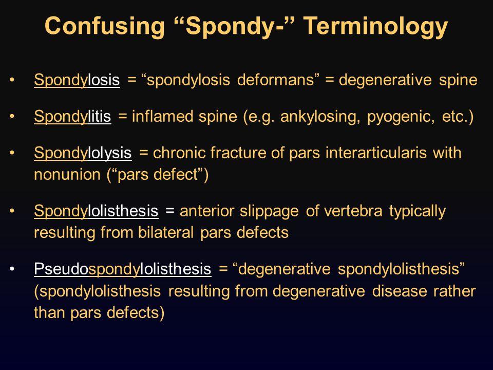 Confusing Spondy- Terminology