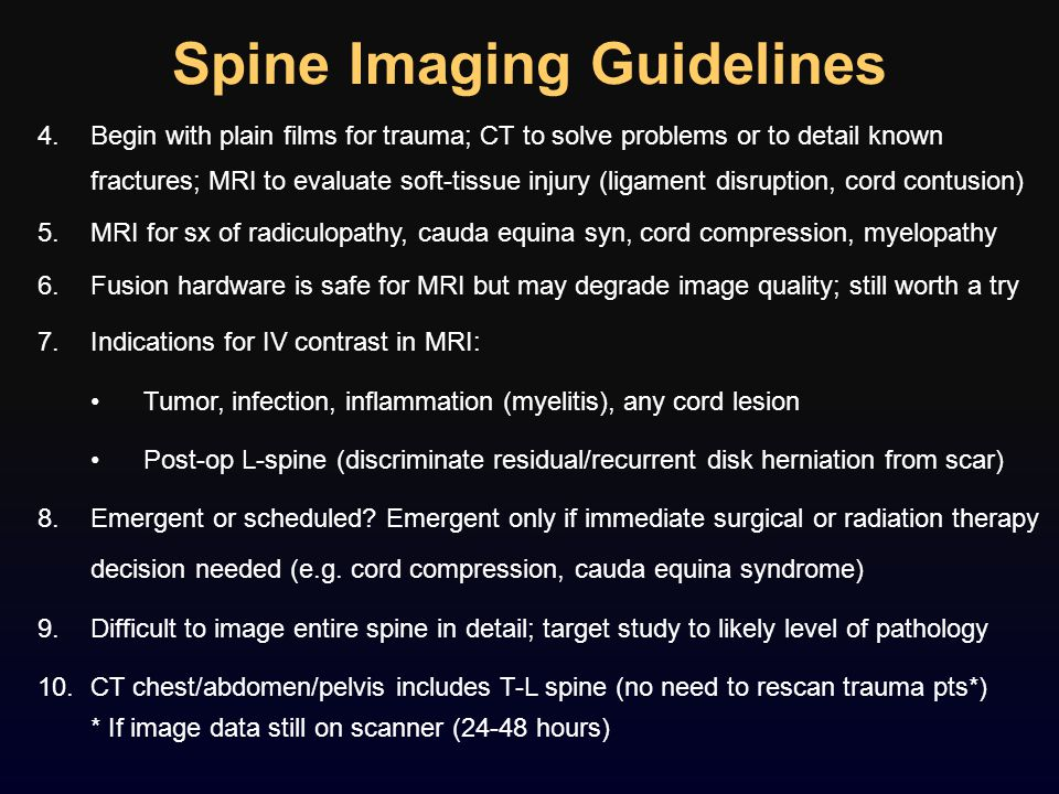 Spine Imaging Guidelines