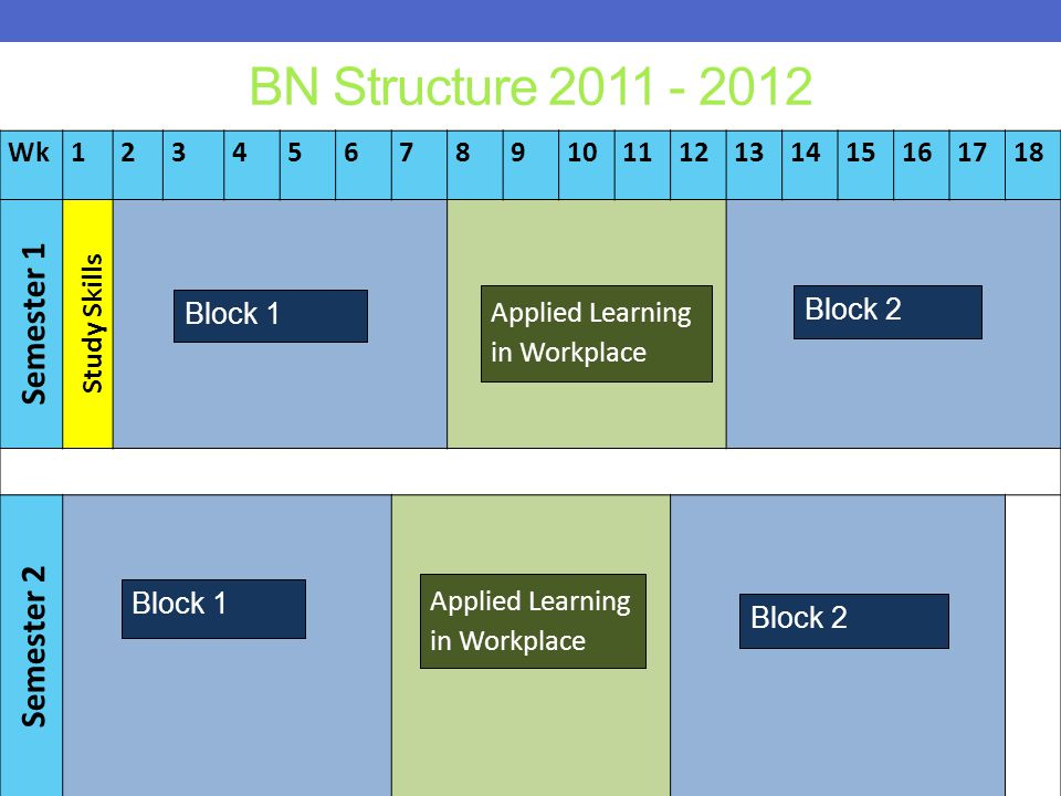 BN Structure 2011 - 2012 Semester 1 Semester 2 Wk 1 2 3 4 5 6 7 8 9 10