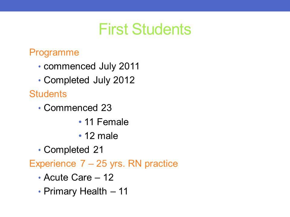 First Students Programme commenced July 2011 Completed July 2012