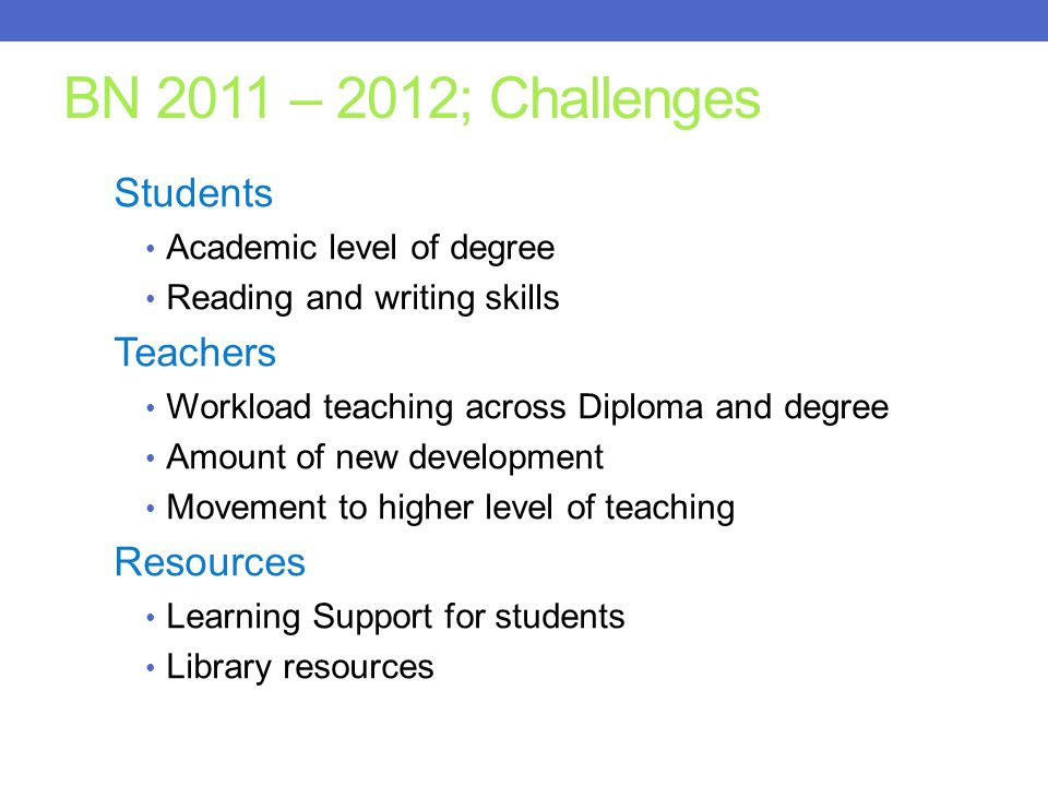 BN 2011 – 2012; Challenges Students Teachers Resources
