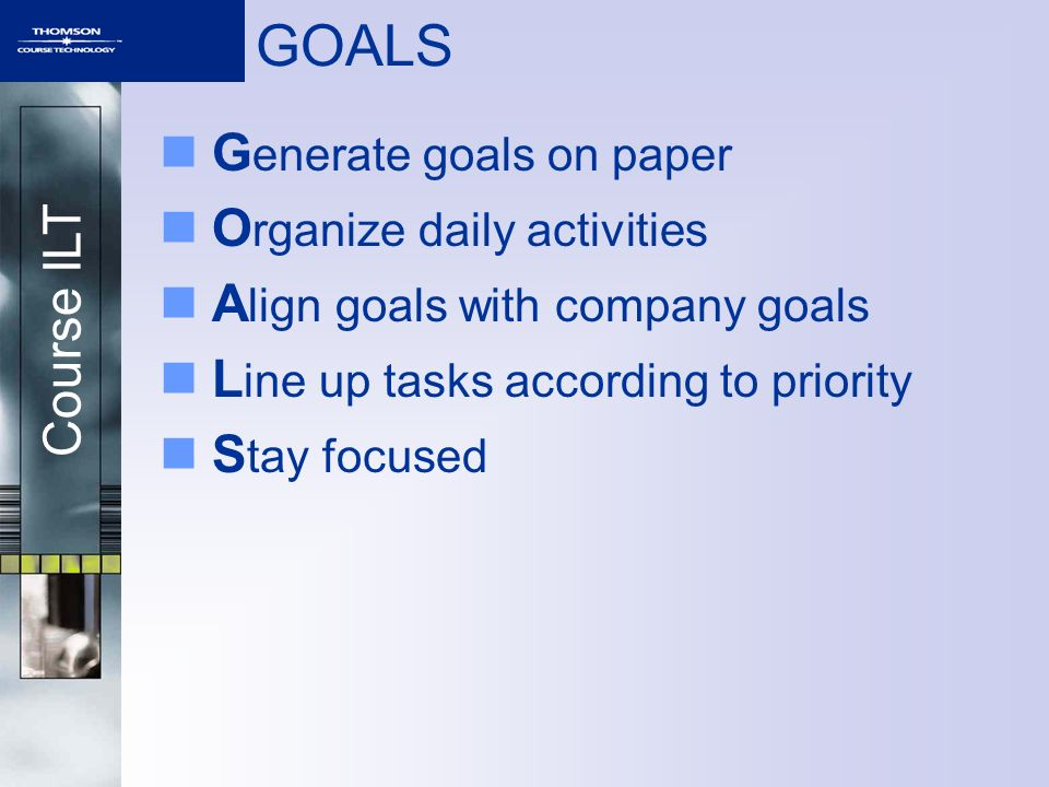 GOALS Generate goals on paper Organize daily activities