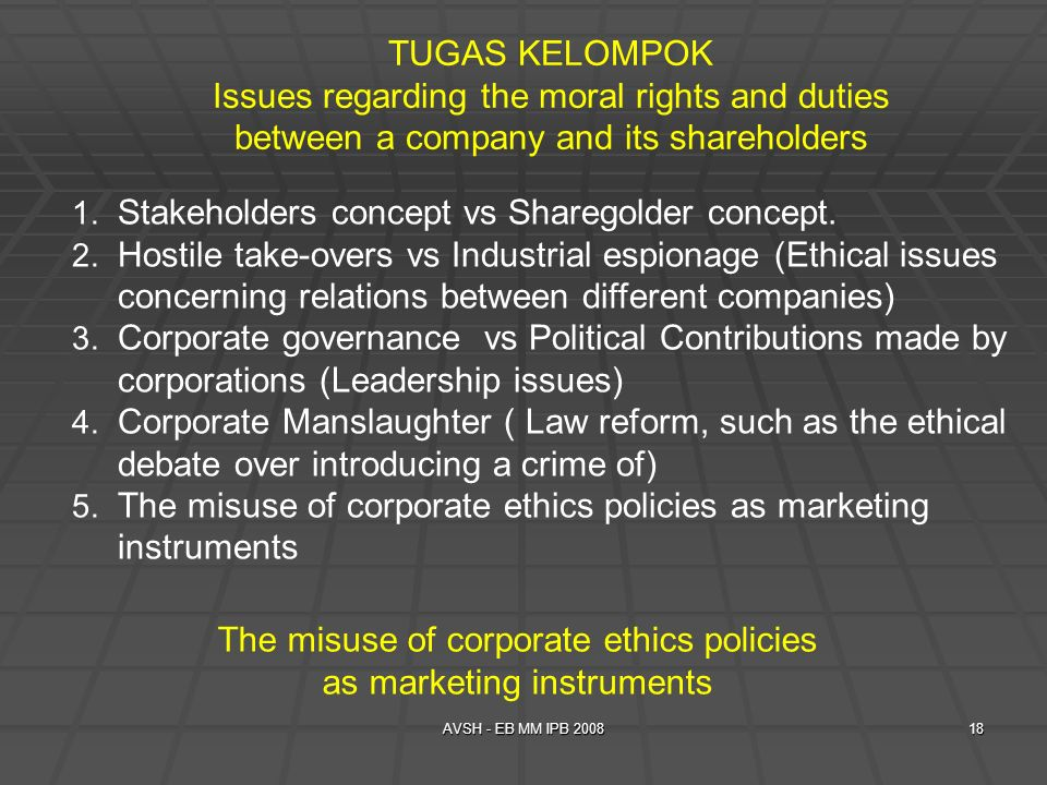 Stakeholders concept vs Sharegolder concept.