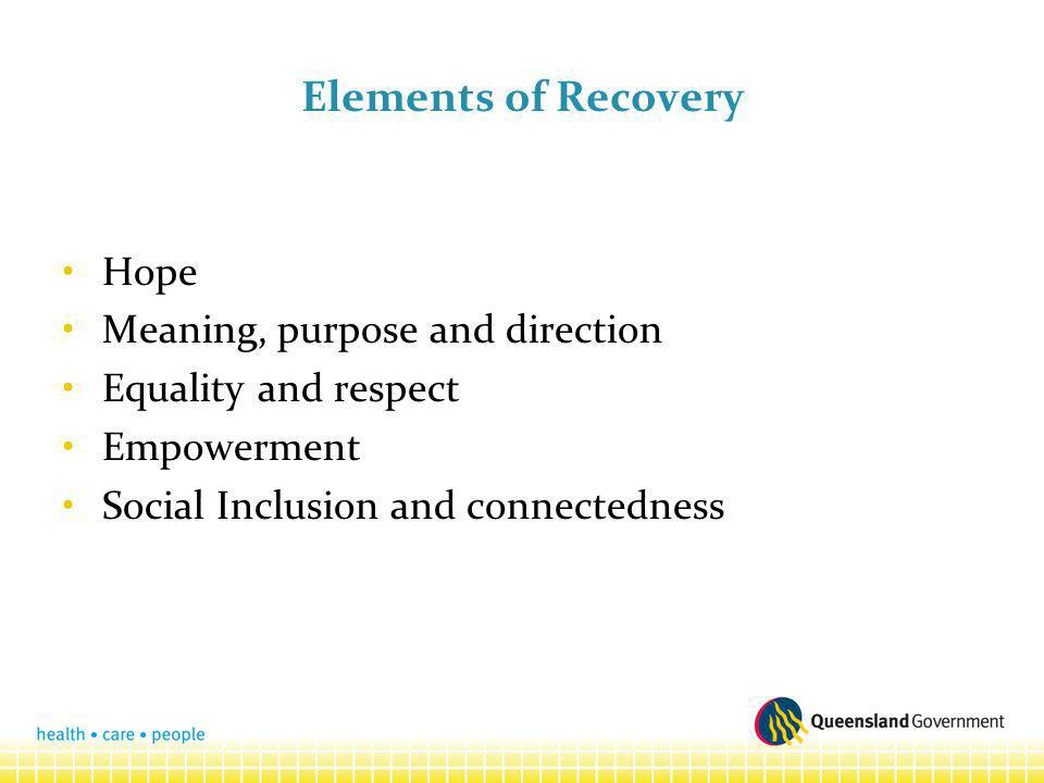Elements of Recovery Hope Meaning, purpose and direction