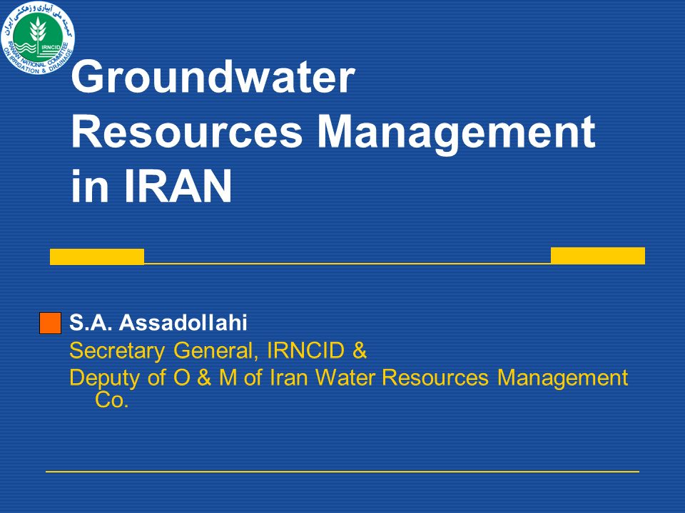 Groundwater Resources Management in IRAN