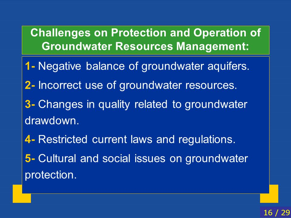 1- Negative balance of groundwater aquifers.