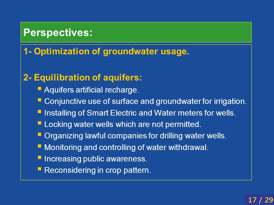 Perspectives: 1- Optimization of groundwater usage.