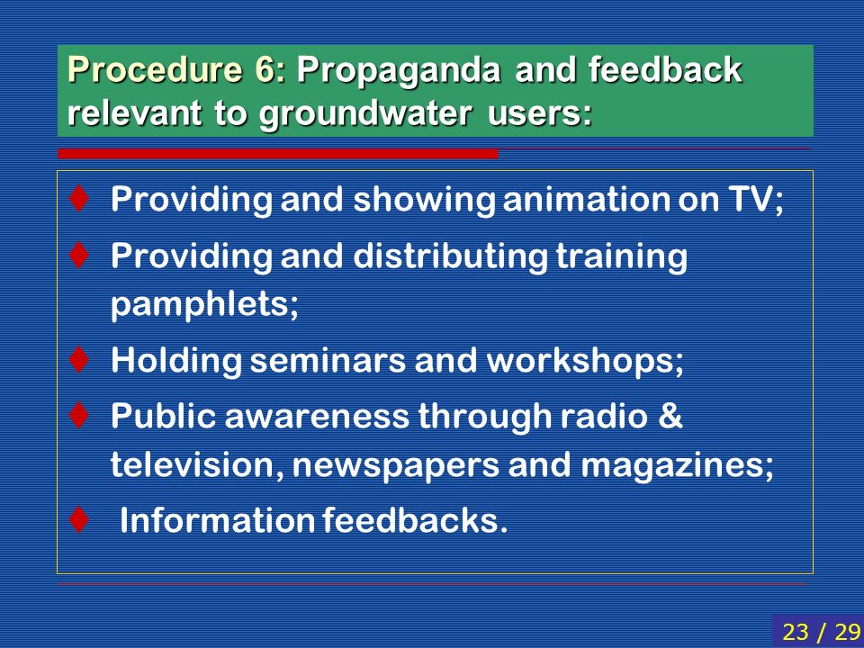Procedure 6: Propaganda and feedback relevant to groundwater users:
