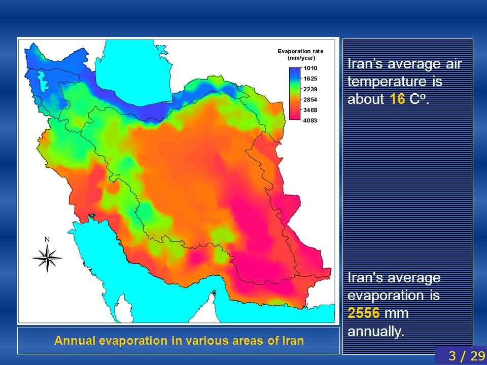Annual evaporation in various areas of Iran