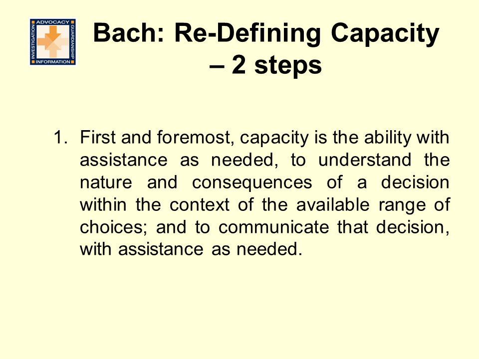 Bach: Re-Defining Capacity – 2 steps