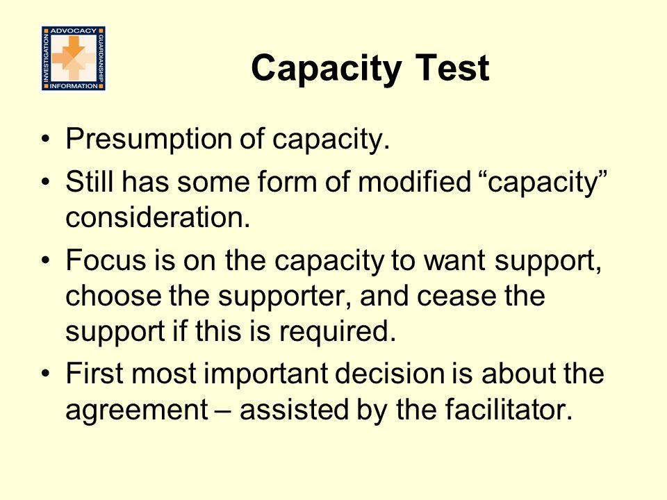 Capacity Test Presumption of capacity.