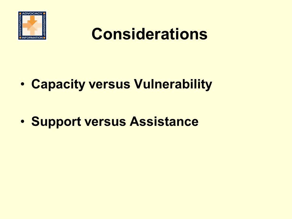 Considerations Capacity versus Vulnerability Support versus Assistance