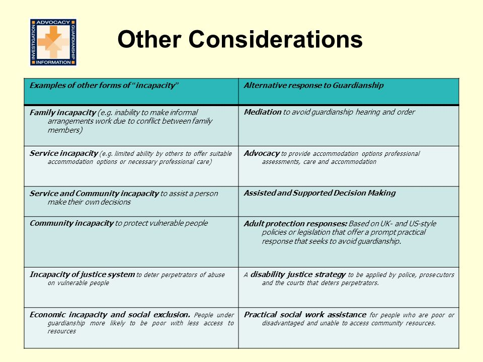 Other Considerations Examples of other forms of incapacity