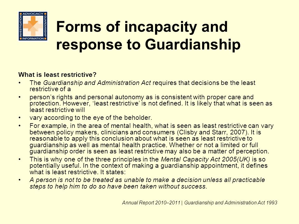 Forms of incapacity and response to Guardianship