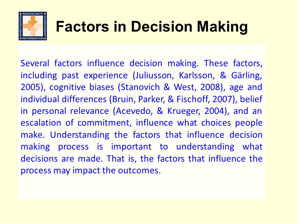 Factors in Decision Making