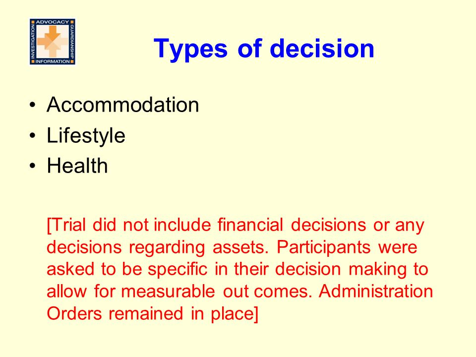 Types of decision Accommodation Lifestyle Health
