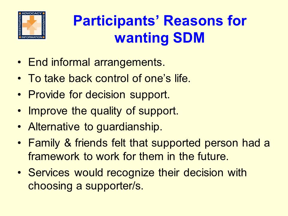 Participants' Reasons for wanting SDM