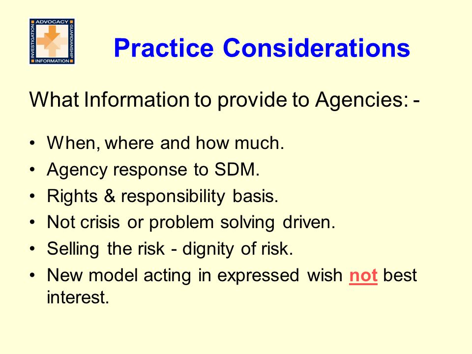 Practice Considerations