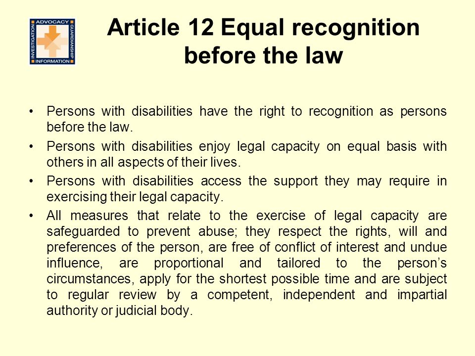 Article 12 Equal recognition before the law