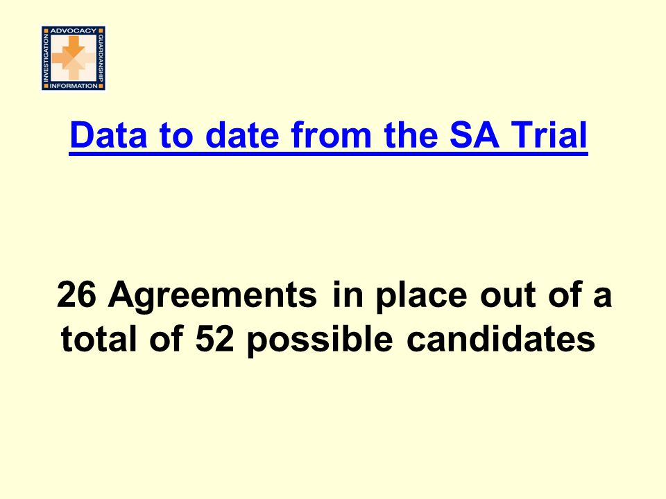 Data to date from the SA Trial