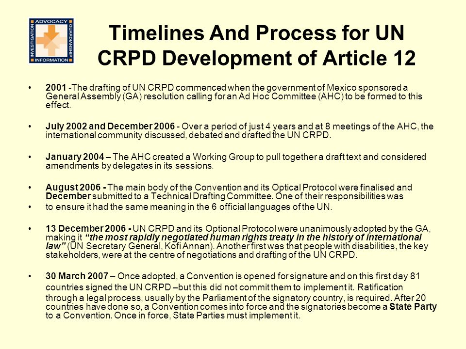 Timelines And Process for UN CRPD Development of Article 12