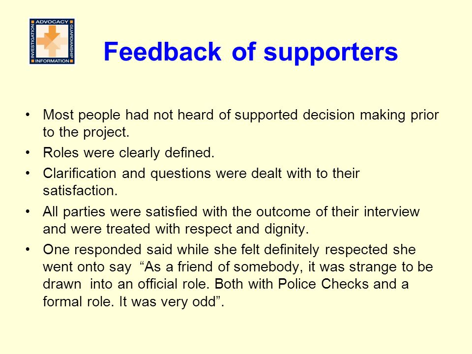 Feedback of supporters
