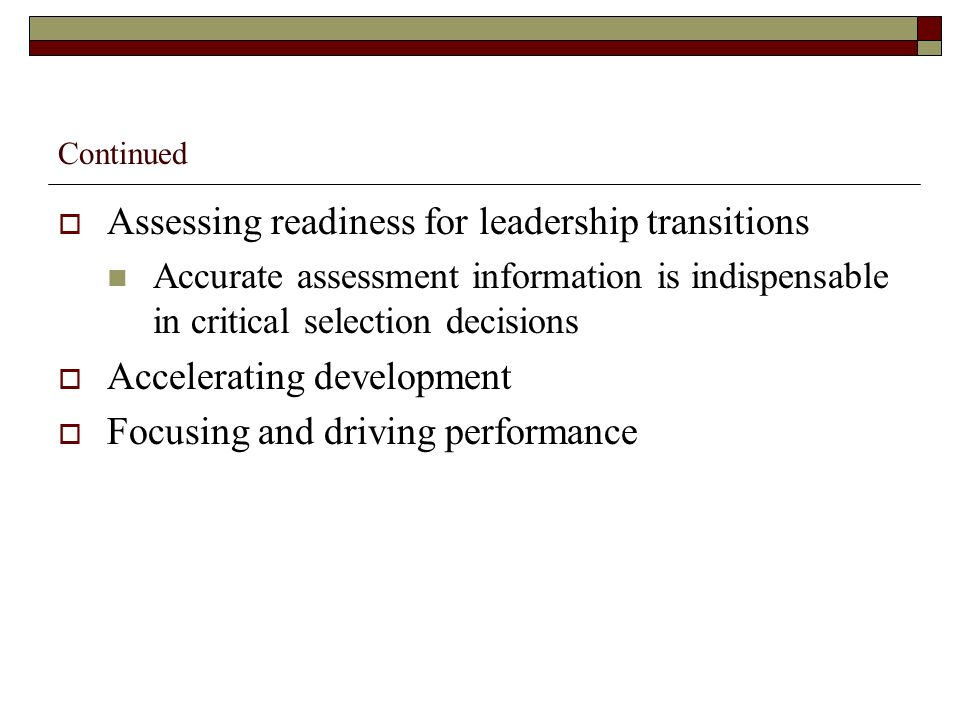 Assessing readiness for leadership transitions