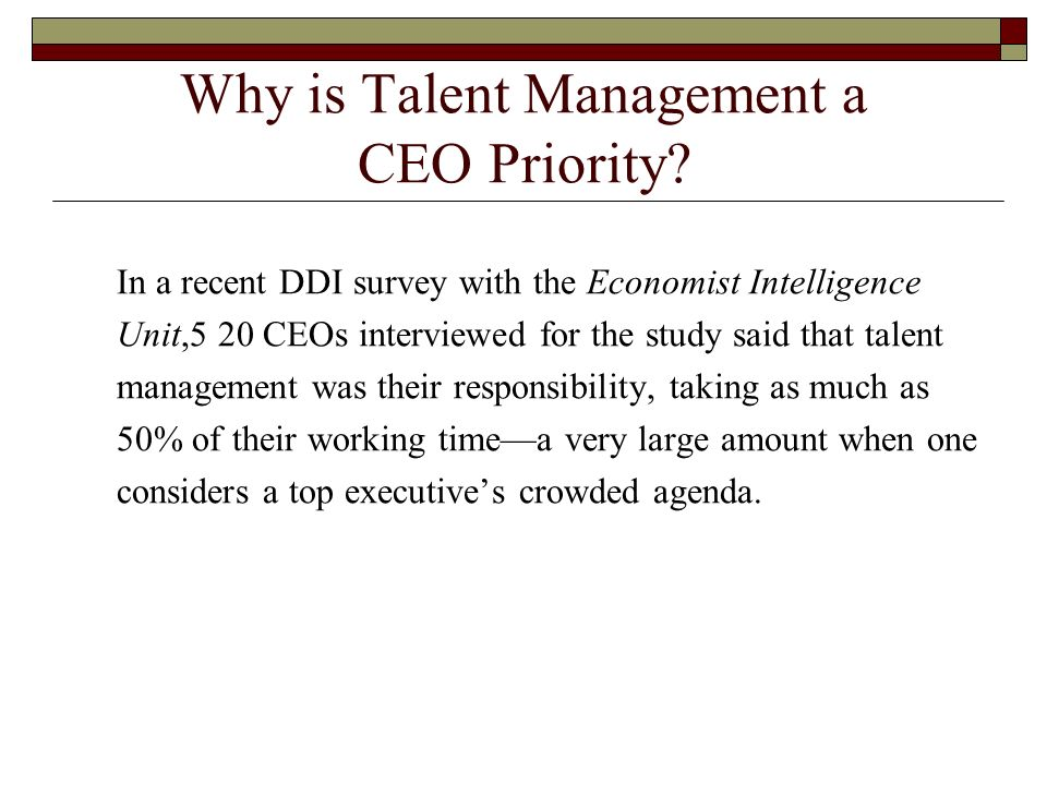 Why is Talent Management a CEO Priority