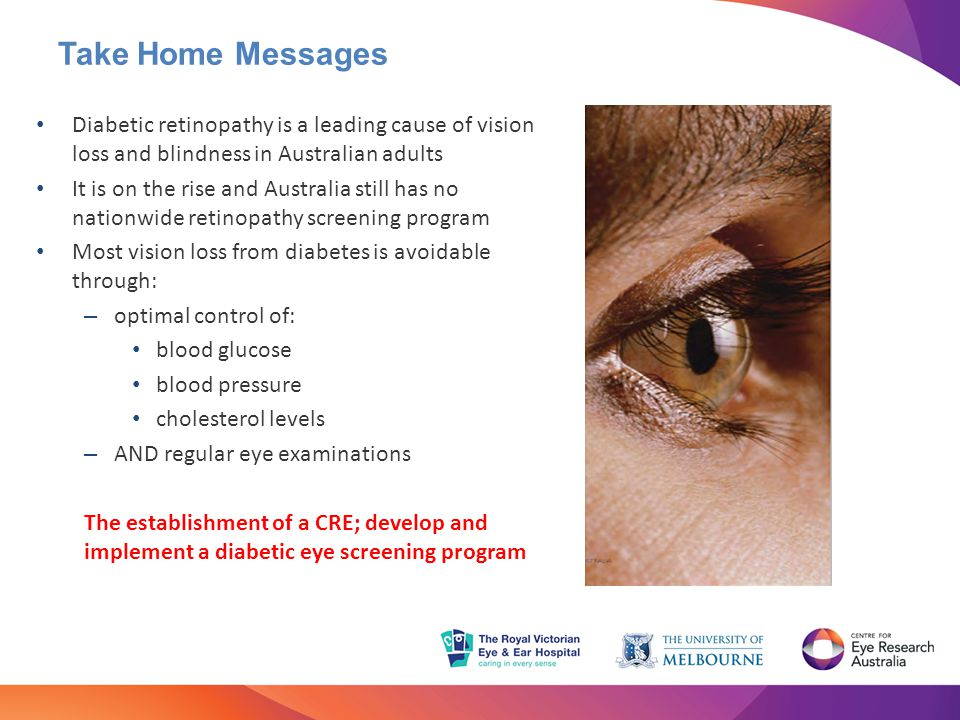 Take Home Messages Diabetic retinopathy is a leading cause of vision loss and blindness in Australian adults.
