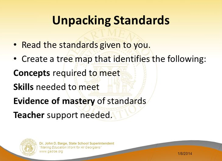 Unpacking Standards Read the standards given to you.
