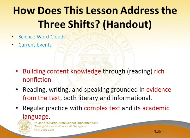How Does This Lesson Address the Three Shifts (Handout)