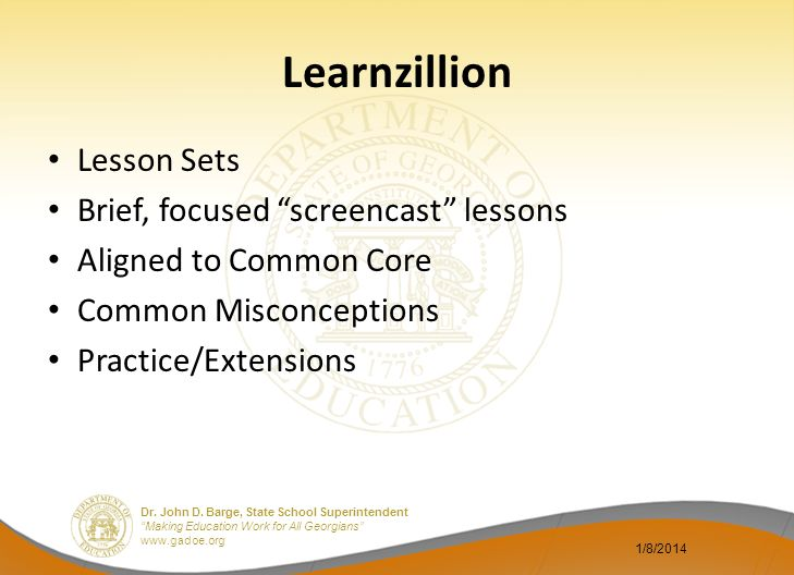 Learnzillion Lesson Sets Brief, focused screencast lessons