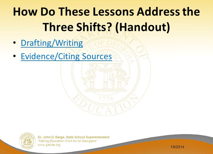 How Do These Lessons Address the Three Shifts (Handout)