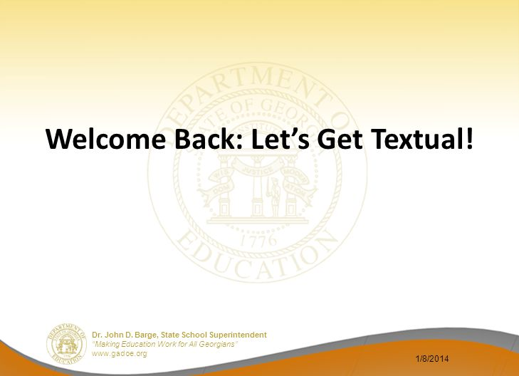 Welcome Back: Let's Get Textual!