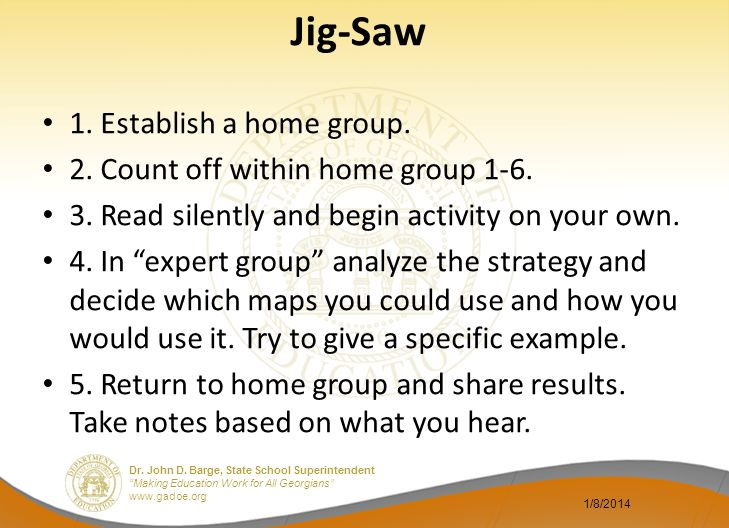Jig-Saw 1. Establish a home group. 2. Count off within home group 1-6.