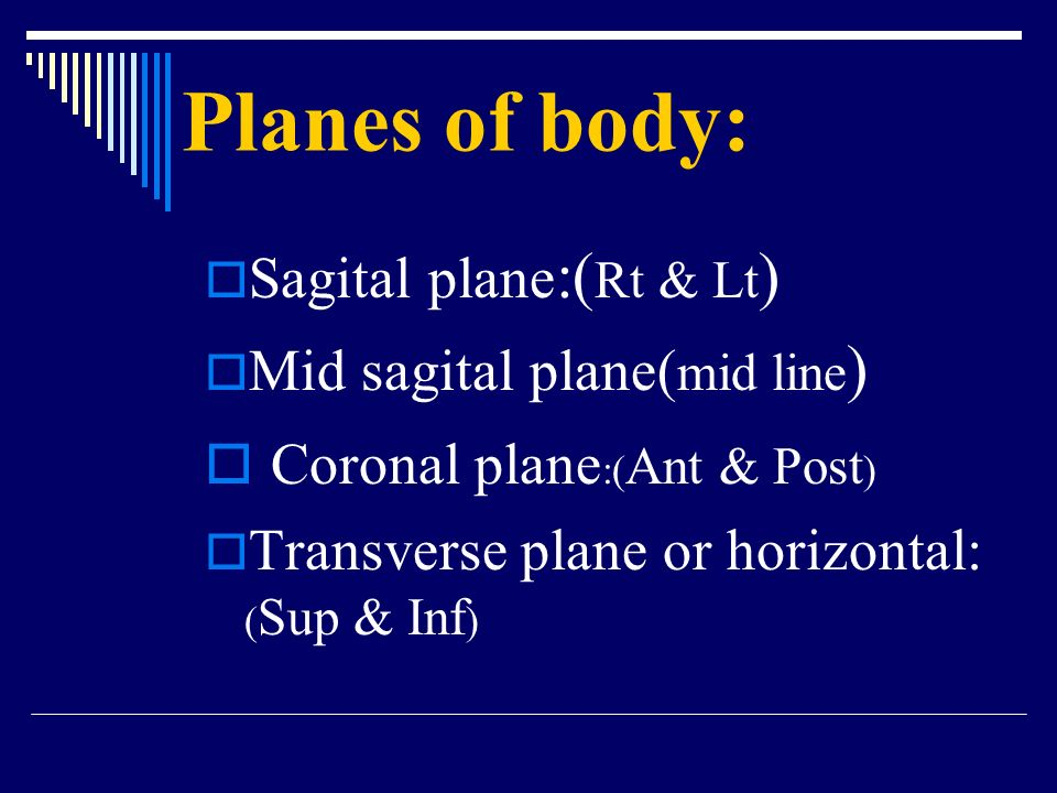 Planes of body: Coronal plane:(Ant & Post) Sagital plane:(Rt & Lt)