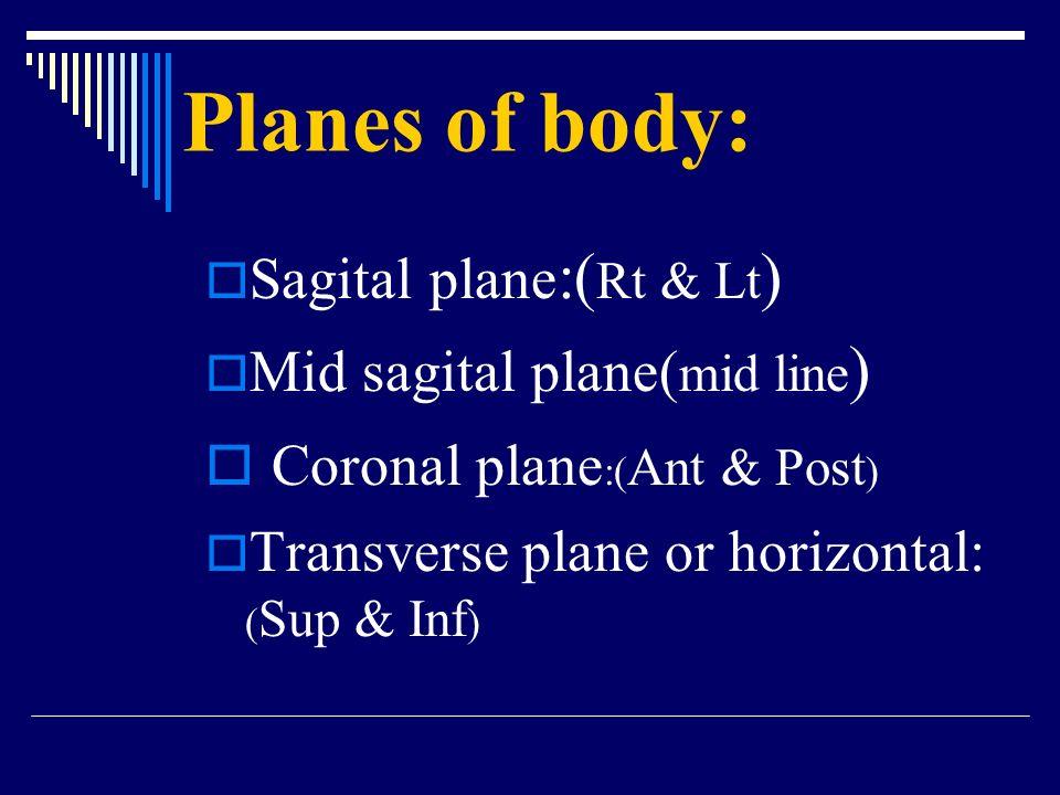 Planes of body: Coronal plane:(Ant & Post) Sagital plane:(Rt & Lt)