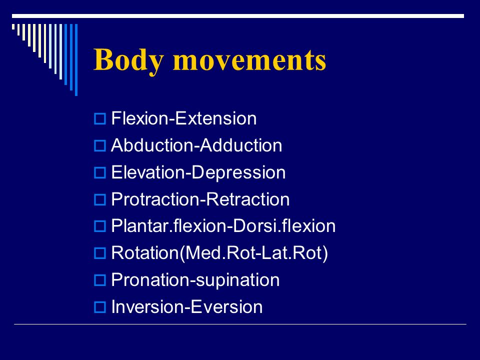 Body movements Flexion-Extension Abduction-Adduction